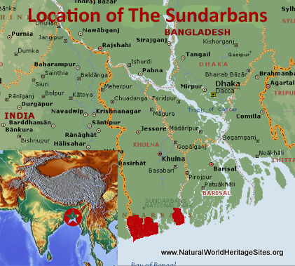 Map showing the location of The Sundarbans World Heritage Site in Bangladesh