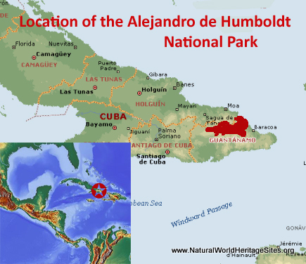 Map showing the location of Alejandro de Humboldt National Park World Heritage Site in Cuba