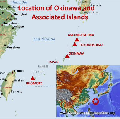 Map showing the location of Amami-Oshima, Tokunoshima, Northern Okinawa and Iriomote Islands World Heritage Site in Japan