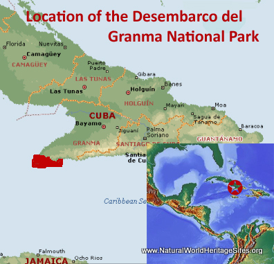 Map showing the location of Desembarco del Granma National Park World Heritage Site in Cuba