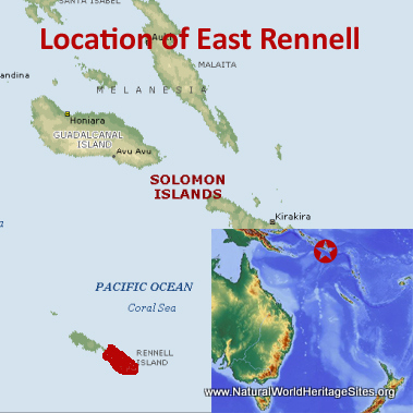 Map showing the location of East Rennell World Heritage Site in Solomon Islands
