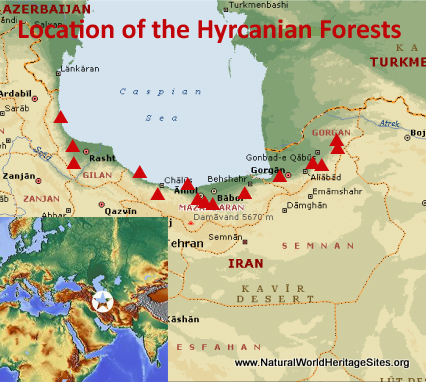 Map showing the location of Hyrcanian Forests World Heritage Site in Iran