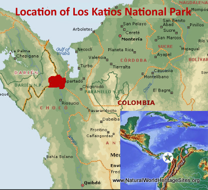 Map showing the location of Los Katios National Park World Heritage Site in Colombia