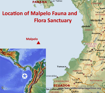 Map showing the location of Malpelo Fauna and Flora Sanctuary World Heritage Site in Colombia