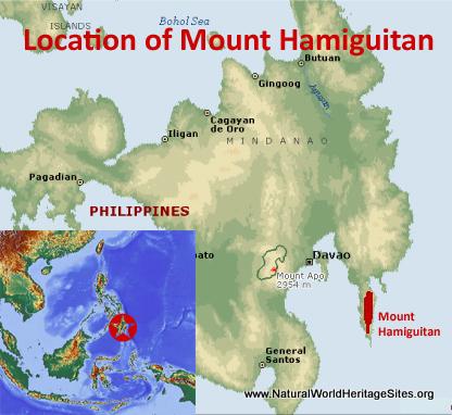 Map showing the location of Mount Hamiguitan Range Wildlife Sanctuary World Heritage Site in Philippines