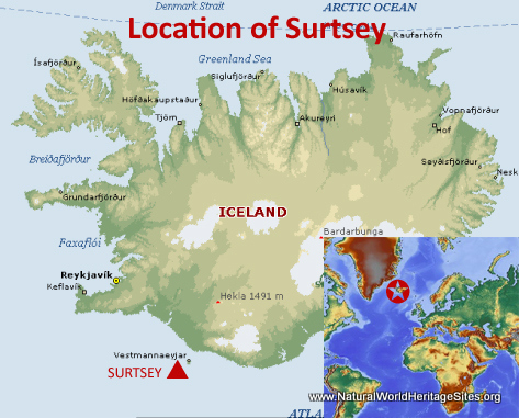Map showing the location of Surtsey World Heritage Site in Iceland