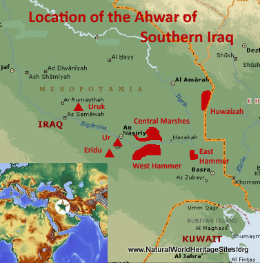 Map showing the location of The Ahwar of Southern Iraq World Heritage Site in Iraq