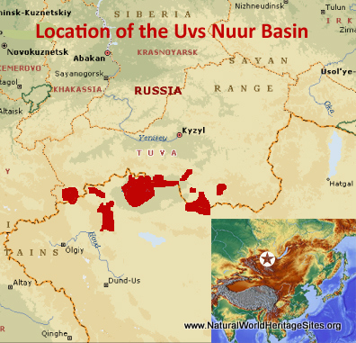 Map showing the location of Uvs Nuur Basin World Heritage Site in Mongolia and Russian Federation